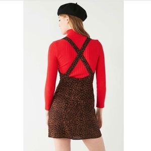UO Animal Print Cross-back Mini Dress Leopard